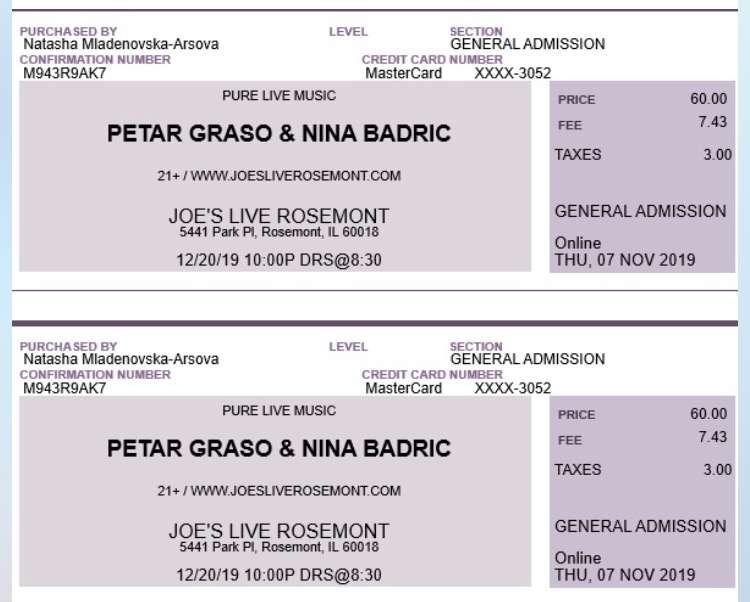 Prodajem 2 karte za koncert Petra Grase i Nine Badric